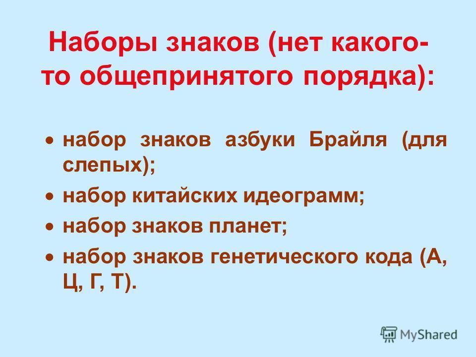 АЛФАВИТЫ: алфавит кириллических букв (А, Б, В, Г, Д, Е,...) алфавит латинских букв (А, В, С, D, Е, F,...) алфавит десятичных цифр (0, 1, 2, 3, 4, 5, 6, 7, 8, 9) алфавит знаков зодиака (,,,,,,,,,,, ) и др.