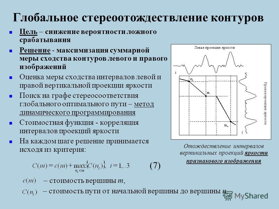 Глобальное стереоотождествление контуров Цель – снижение вероятности ложного срабатывания Решение - максимизация суммарной меры сходства контуров левого и правого изображений Оценка меры сходства интервалов левой и правой вертикальной проекции яркост