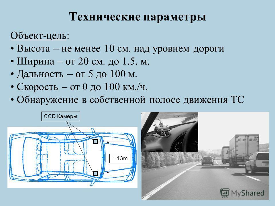 Технические параметры Объект-цель: Высота – не менее 10 см. над уровнем дороги Ширина – от 20 см. до 1.5. м. Дальность – от 5 до 100 м. Скорость – от 0 до 100 км./ч. Обнаружение в собственной полосе движения ТС CCD Камеры 1.13m