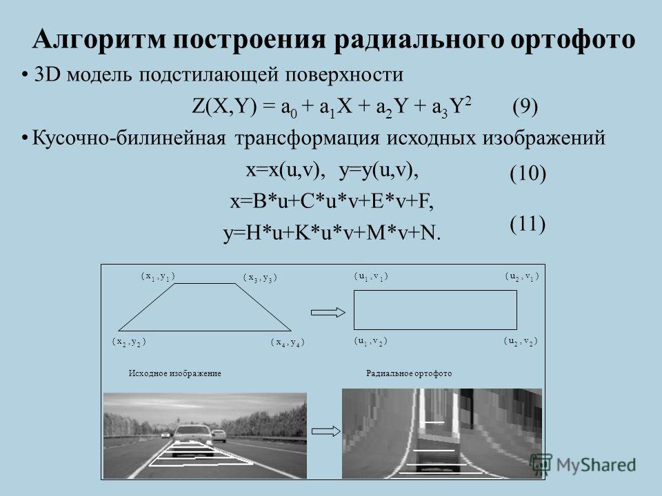 Алгоритм построения радиального ортофото (x 1,y 1 ) (x 3,y 3 ) (x 2,y 2 ) (x 4,y 4 ) (u 1,v 1 ) (u 2,v 1 ) (u 1,v 2 ) (u 2,v 2 ) Исходное изображение Радиальное ортофото 3D модель подстилающей поверхности Z(X,Y) = a 0 + a 1 X + a 2 Y + a 3 Y 2 Кусочн