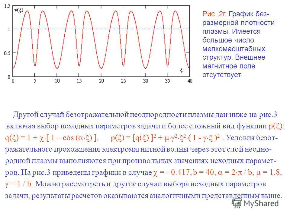 Рис. 2г. График без- размерной плотности плазмы. Имеется большое число мелкомасштабных структур. Внешнее магнитное поле отсутствует. Другой случай безотражательной неоднородности плазмы дан ниже на рис.3 включая выбор исходных параметров задачи и бол