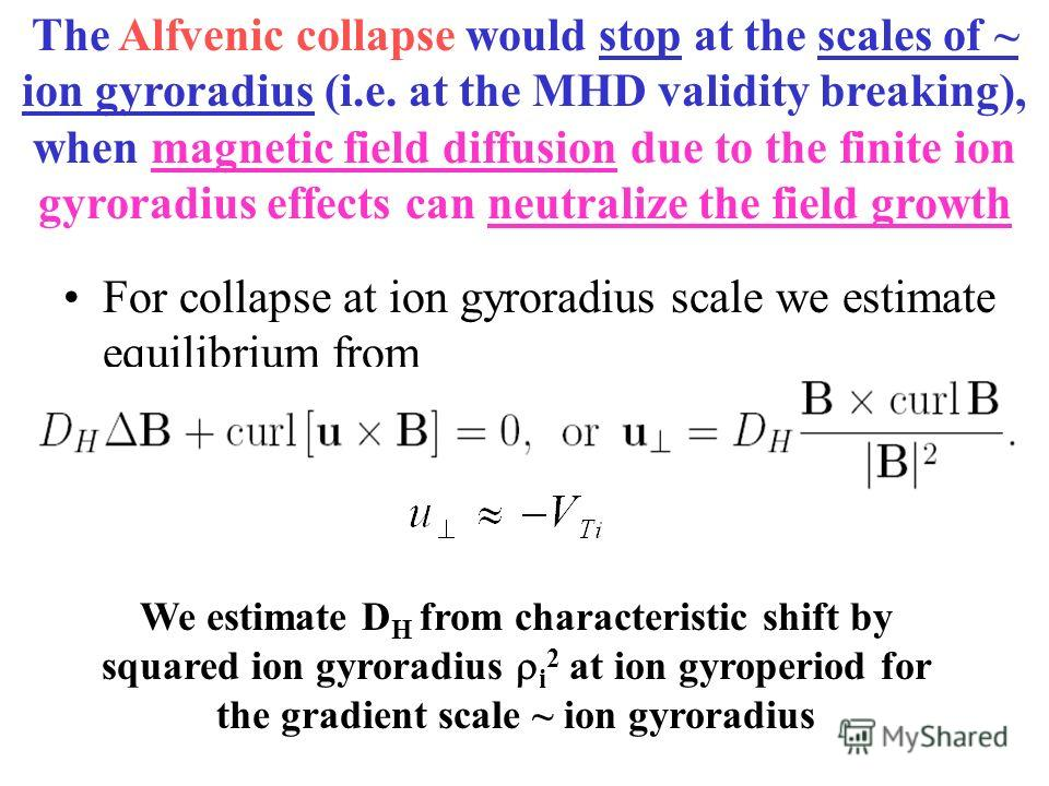 For collapse at ion gyroradius scale we estimate equilibrium from We estimate D H from characteristic shift by squared ion gyroradius i 2 at ion gyroperiod for the gradient scale ~ ion gyroradius The Alfvenic collapse would stop at the scales of ~ io