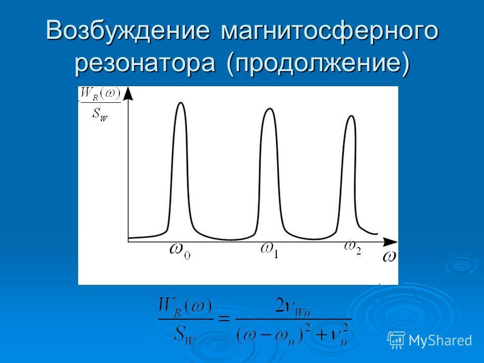 Возбуждение магнитосферного резонатора (продолжение)
