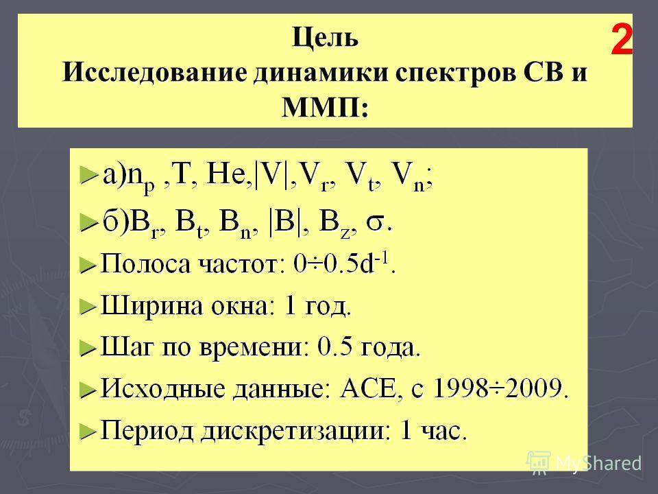 Цель Исследование динамики спектров СВ и ММП: 2