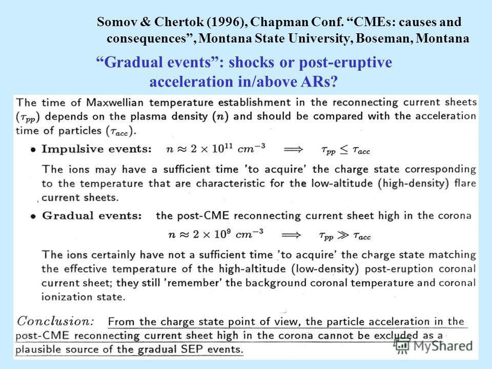 Somov & Chertok (1996), Chapman Conf. CMEs: causes and consequences, Montana State University, Boseman, Montana Gradual events: shocks or post-eruptive acceleration in/above ARs?