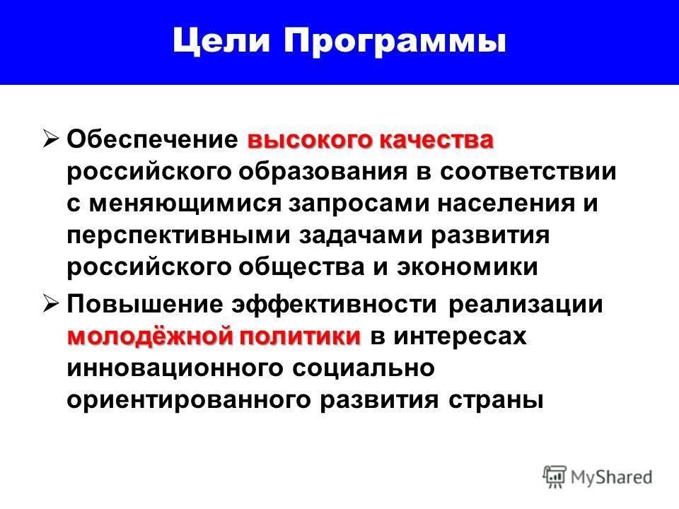 Цели Программы высокого качества Обеспечение высокого качества российского образования в соответствии с меняющимися запросами населения и перспективными задачами развития российского общества и экономики молодёжной политики Повышение эффективности ре