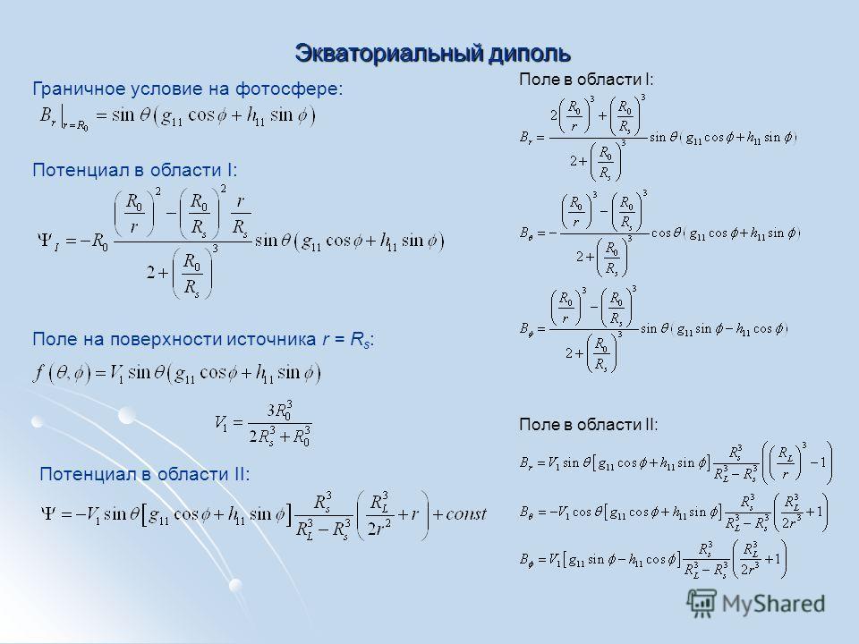 Экваториальный диполь Граничное условие на фотосфере: Потенциал в области I: Поле на поверхности источника r = R s : Потенциал в области II: Поле в области I: Поле в области II: