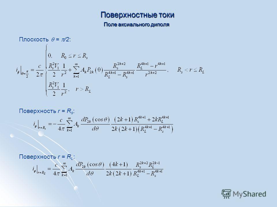Поверхностные токи Плоскость = /2: Поле аксиального диполя Поверхность r = R s : Поверхность r = R L :