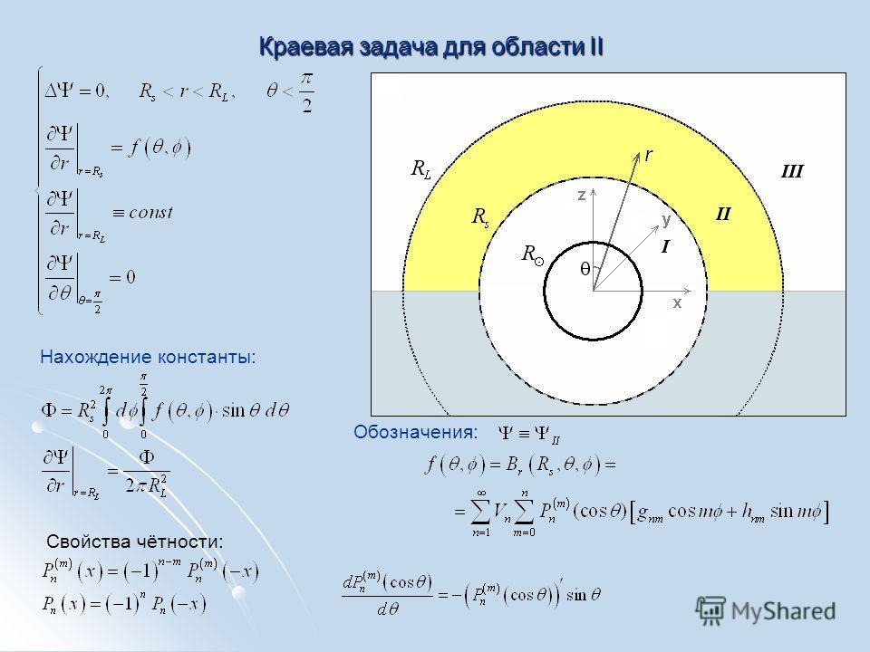 Краевая задача для области II Обозначения: Нахождение константы: Свойства чётности: