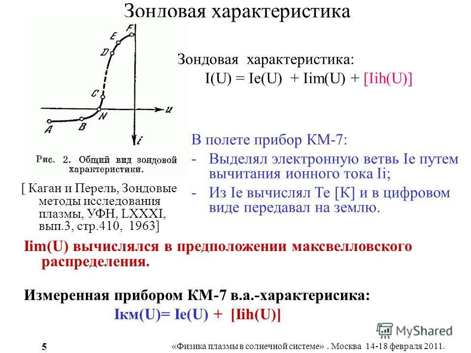 «Физика плазмы в солнечной системе». Москва 14-18 февраля 2011. 5 Зондовая характеристика [ Каган и Перель, Зондовые методы исследования плазмы, УФН, LXXXI, вып.3, стр.410, 1963] В полете прибор КМ-7: -Выделял электронную ветвь Ie путем вычитания ион
