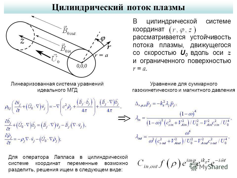 Цилиндрический поток плазмы В цилиндрической системе координат рассматривается устойчивость потока плазмы, движущегося со скоростью U 0 вдоль оси z и ограниченного поверхностью r = a. Для оператора Лапласа в цилиндрической системе координат переменны