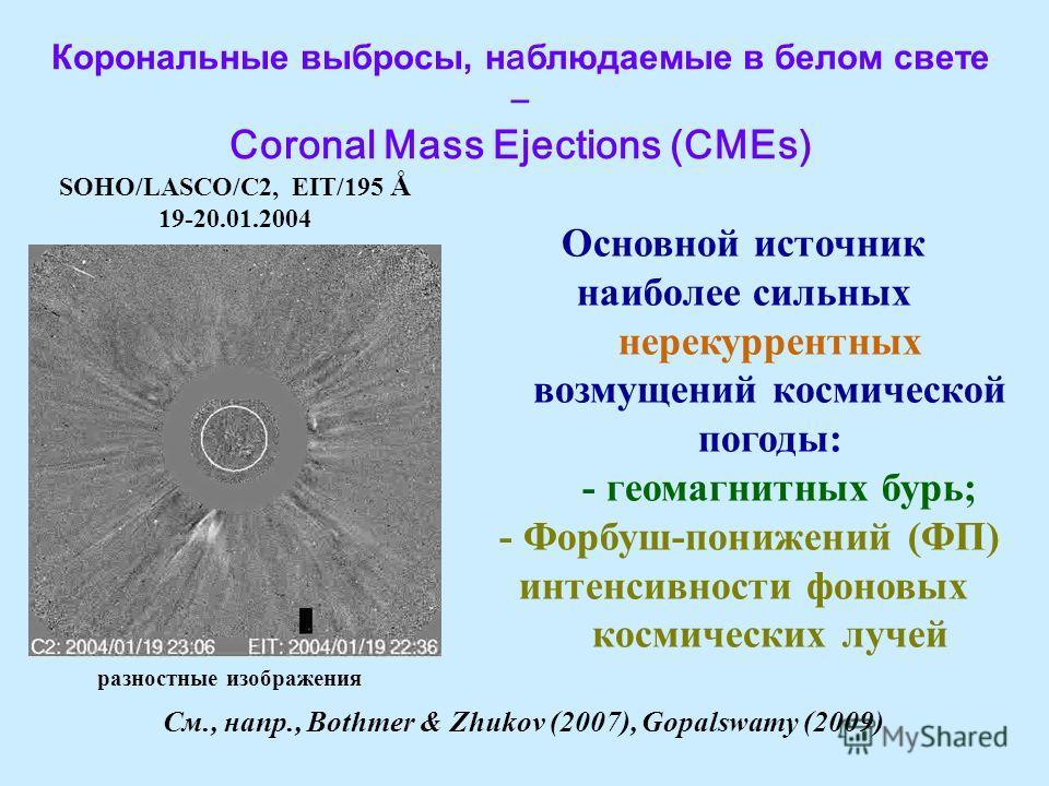 Oсновной источник наиболее сильных нерекуррентных возмущений космической погоды: - геомагнитных бурь; - Форбуш-понижений (ФП) интенсивности фоновых космических лучей Корональные выбросы, н а блюдаемые в белом свете – Coronal Mass Ejections (CMEs) SOH