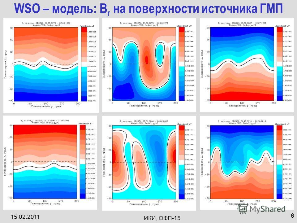15.02.2011 ИКИ, ОФП-15 6 WSO – модель: B r на поверхности источника ГМП