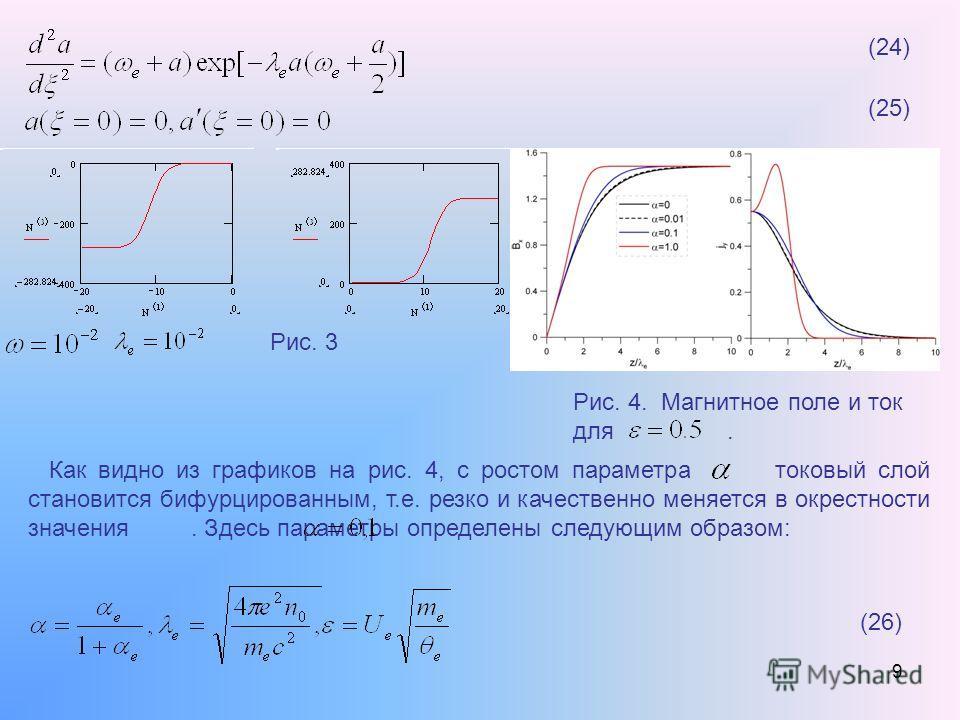 9 (24) (25) Рис. 3 Рис. 4. Магнитное поле и ток для. Как видно из графиков на рис. 4, с ростом параметра токовый слой становится бифурцированным, т.е. резко и качественно меняется в окрестности значения. Здесь параметры определены следующим образом: