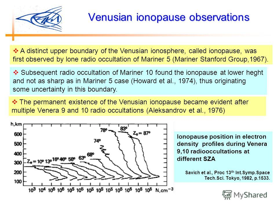 Venusian ionopause observations Ionopause position in electron density profiles during Venera 9,10 radiooccultations at different SZA Savich et al., Proc 13 th Int.Symp.Space Tech.Sci. Tokyo, 1982, p.1533. A distinct upper boundary of the Venusian io