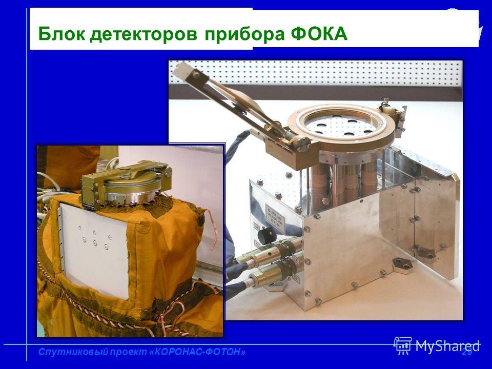 29 Спутниковый проект «КОРОНАС-ФОТОН» Блок детекторов прибора ФОКА