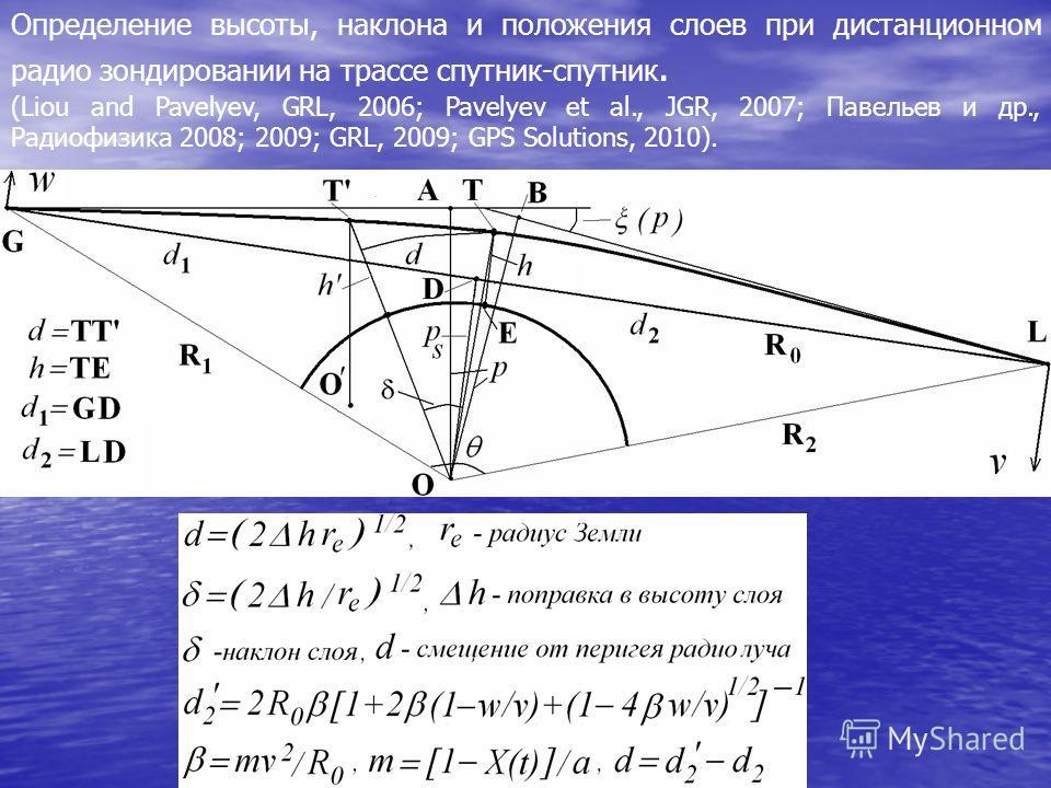 Определение высоты, наклона и положения слоев при дистанционном радио зондировании на трассе спутник-спутник. (Liou and Pavelyev, GRL, 2006; Pavelyev et al., JGR, 2007; Павельев и др., Радиофизика 2008; 2009; GRL, 2009; GPS Solutions, 2010).