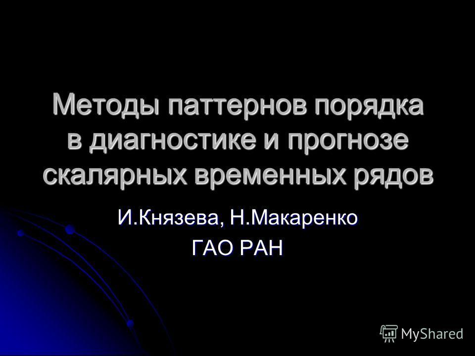 Методы паттернов порядка в диагностике и прогнозе скалярных временных рядов И.Князева, Н.Макаренко ГАО РАН