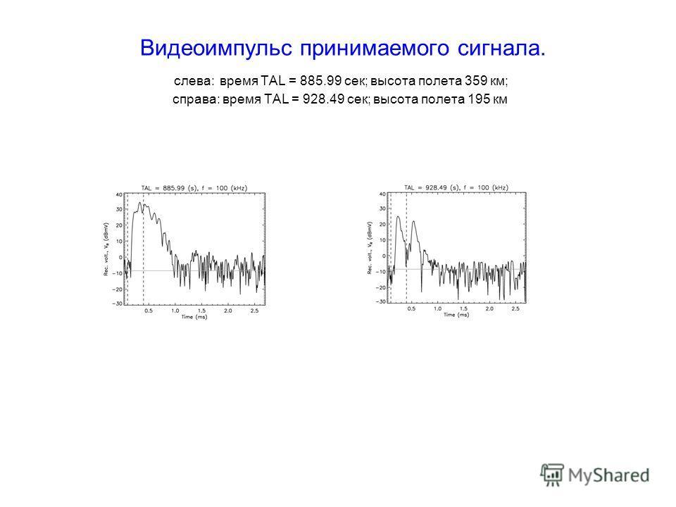 Видеоимпульс принимаемого сигнала. слева: время TAL = 885.99 сек; высота полета 359 км; справа: время TAL = 928.49 сек; высота полета 195 км