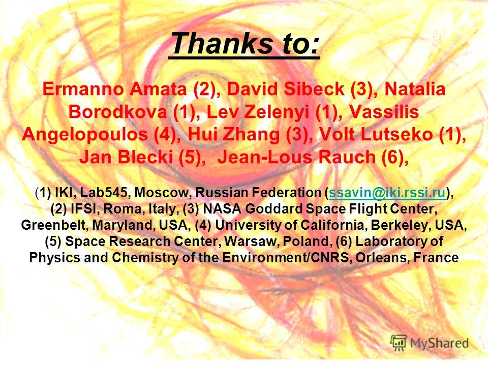 Thanks to: Ermanno Amata (2), David Sibeck (3), Natalia Borodkova (1), Lev Zelenyi (1), Vassilis Angelopoulos (4), Hui Zhang (3), Volt Lutseko (1), Jan Blecki (5), Jean-Lous Rauch (6), (1) IKI, Lab545, Moscow, Russian Federation (ssavin@iki.rssi.ru),