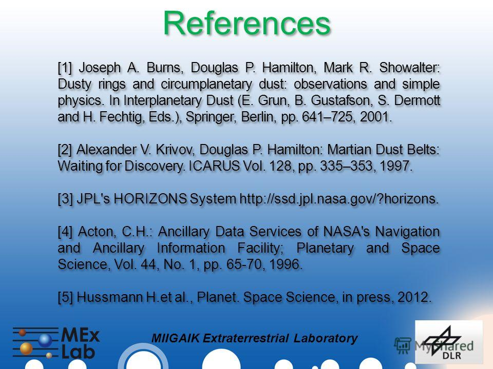 MIIGAIK Extraterrestrial Laboratory References [1] Joseph A. Burns, Douglas P. Hamilton, Mark R. Showalter: Dusty rings and circumplanetary dust: observations and simple physics. In Interplanetary Dust (E. Grun, B. Gustafson, S. Dermott and H. Fechti