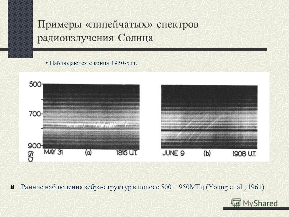 Примеры «линейчатых» спектров радиоизлучения Солнца Ранние наблюдения зебра-структур в полосе 500…950МГц (Young et al., 1961) Наблюдаются с конца 1950-х гг.