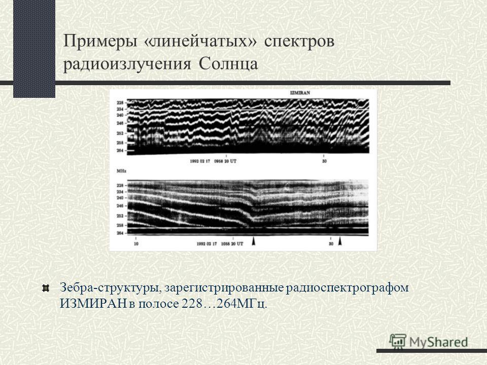 Примеры «линейчатых» спектров радиоизлучения Солнца Зебра-структуры, зарегистрированные радиоспектрографом ИЗМИРАН в полосе 228…264МГц.