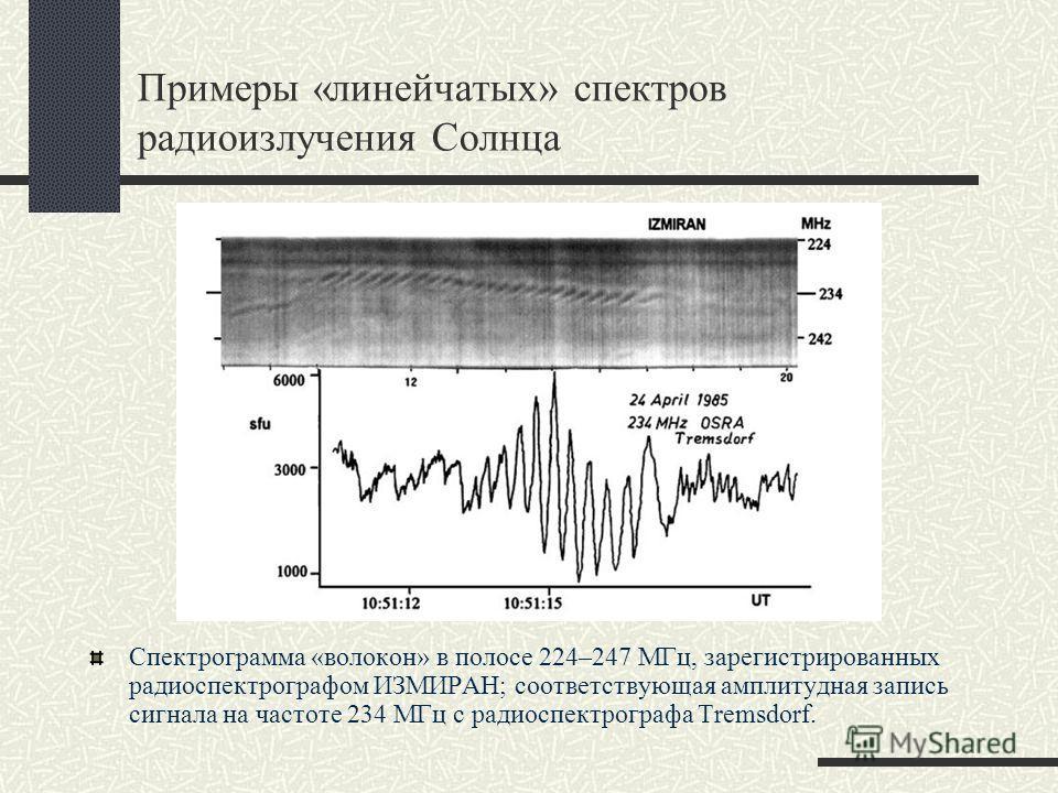 Примеры «линейчатых» спектров радиоизлучения Солнца Спектрограмма «волокон» в полосе 224–247 МГц, зарегистрированных радиоспектрографом ИЗМИРАН; соответствующая амплитудная запись сигнала на частоте 234 МГц с радиоспектрографа Tremsdorf.