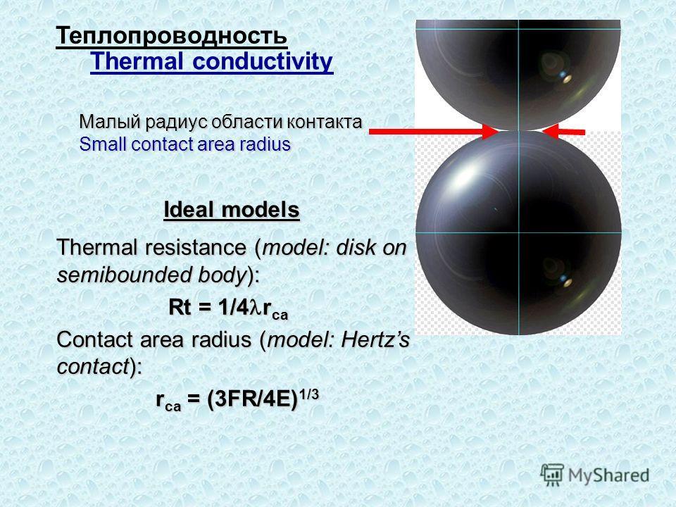 Малый радиус области контакта Small contact area radius Thermal resistance (model: disk on semibounded body): Rt = 1/4 r ca Rt = 1/4 r ca Contact area radius (model: Hertzs contact): r ca = (3FR/4E) 1/3 r ca = (3FR/4E) 1/3 Ideal models Теплопроводнос