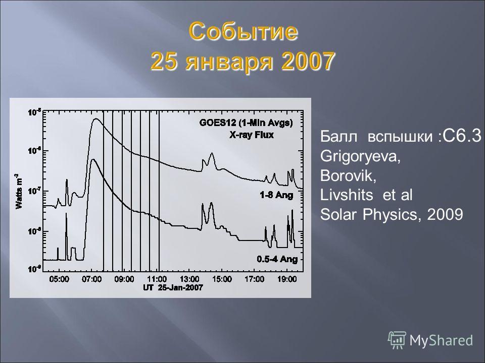 Балл вспышки : С6.3 Grigoryeva, Borovik, Livshits et al Solar Physics, 2009