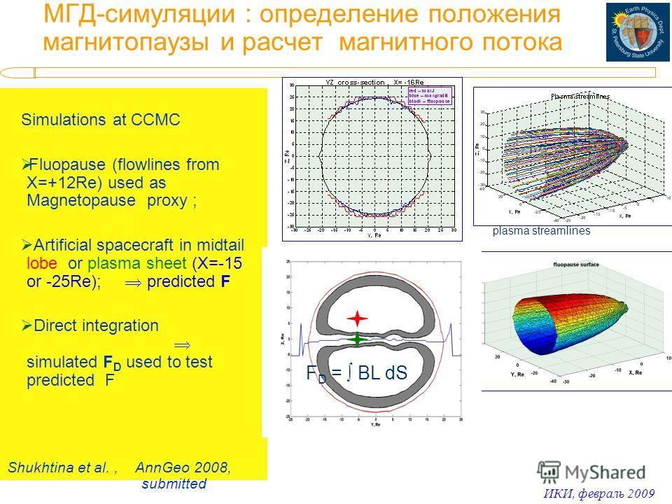 ИКИ, февраль 2009 МГД-симуляции : определение положения магнитопаузы и расчет магнитного потока Simulations at CCMC Fluopause (flowlines from X=+12Re) used as Magnetopause proxy ; Artificial spacecraft in midtail lobe or plasma sheet (X=-15 or -25Re)