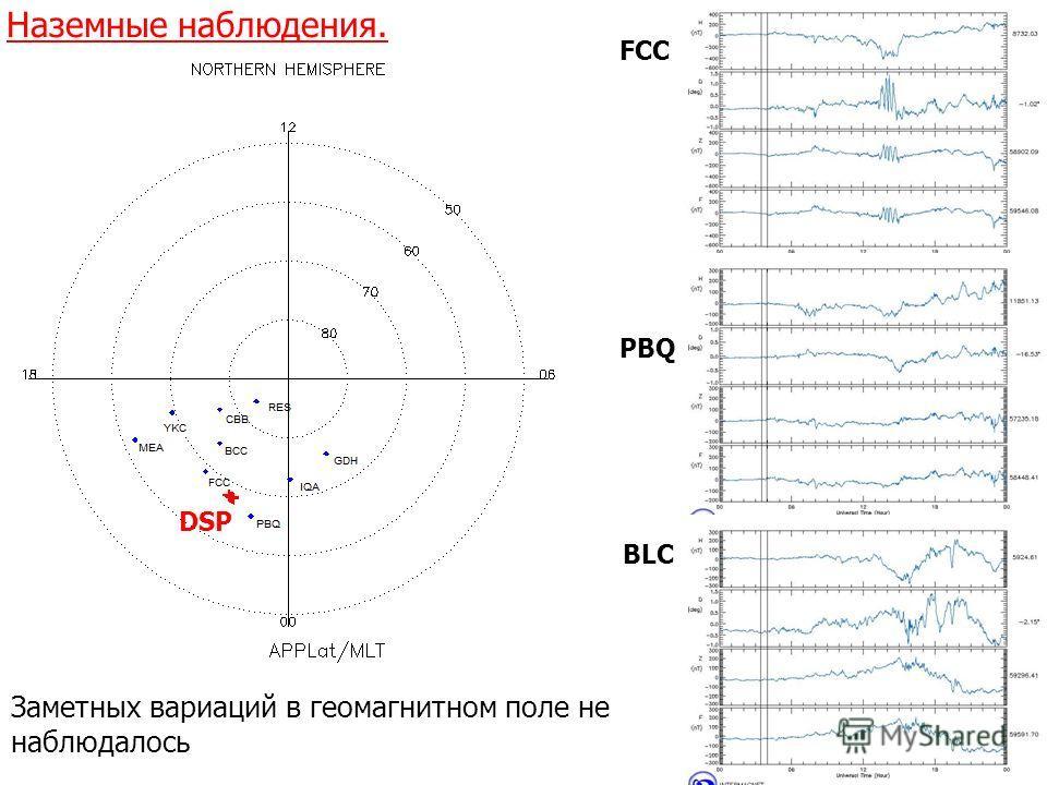 Наземные наблюдения. FCC PBQ BLC DSP Заметных вариаций в геомагнитном поле не наблюдалось