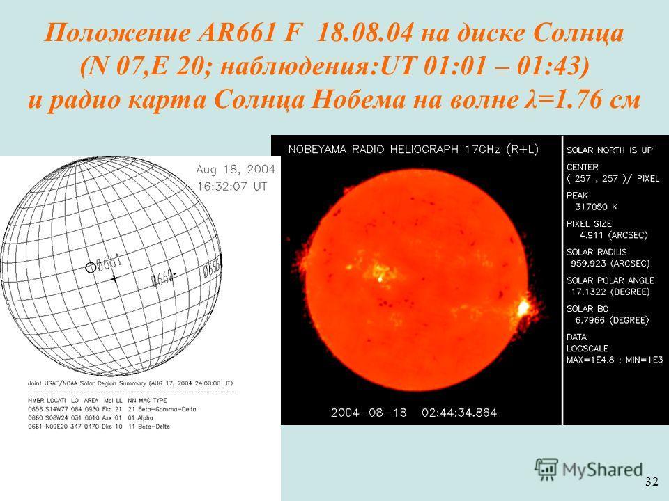 32 Положение AR661 F 18.08.04 на диске Солнца (N 07,E 20; наблюдения:UT 01:01 – 01:43) и радио карта Солнца Нобема на волне λ=1.76 см
