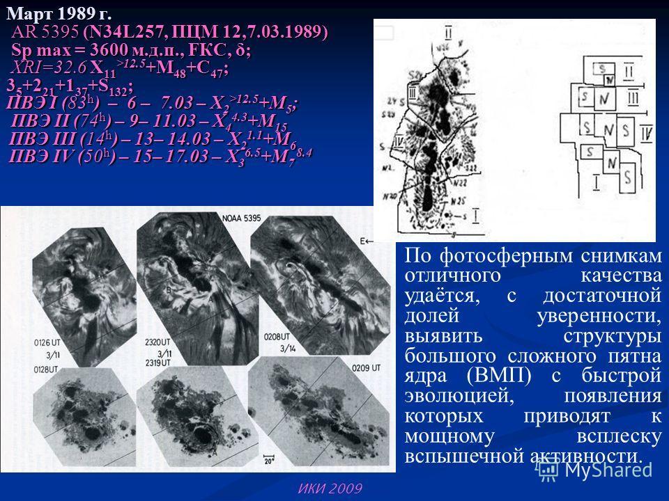 Март 1989 г. AR 5395 (N34L257, ПЦМ 12,7.03.1989) Sp max = 3600 м.д.п., FКС, δ; XRI=32.6 X 11 >12.5 +M 48 +C 47 ; 3 5 +2 21 +1 37 +S 132 ; ПВЭ I (83 h ) – 6 – 7.03 – X 2 >12.5 +M 5 ; ПВЭ II (74 h ) – 9– 11.03 – X 4 4.3 +M 15 ПВЭ III (14 h ) – 13– 14.0