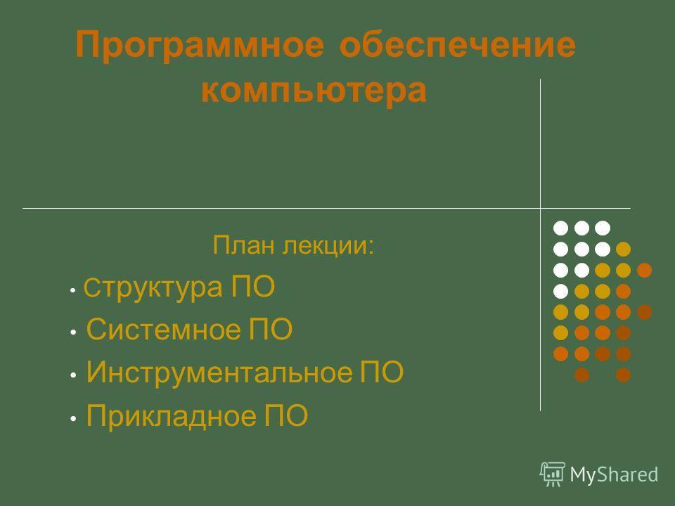 Программное обеспечение компьютера План лекции: С труктура ПО Системное ПО Инструментальное ПО Прикладное ПО