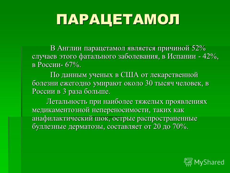 ПАРАЦЕТАМОЛ В Англии парацетамол является причиной 52% случаев этого фатального заболевания, в Испании - 42%, в России- 67%. В Англии парацетамол является причиной 52% случаев этого фатального заболевания, в Испании - 42%, в России- 67%. По данным уч