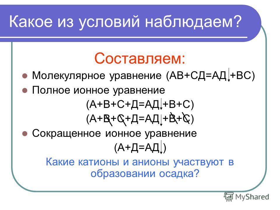 Какое из условий наблюдаем? Составляем: Молекулярное уравнение (АВ+СД=АД +ВС) Полное ионное уравнение (А+В+С+Д=АД +В+С) Сокращенное ионное уравнение (А+Д=АД ) Какие катионы и анионы участвуют в образовании осадка?