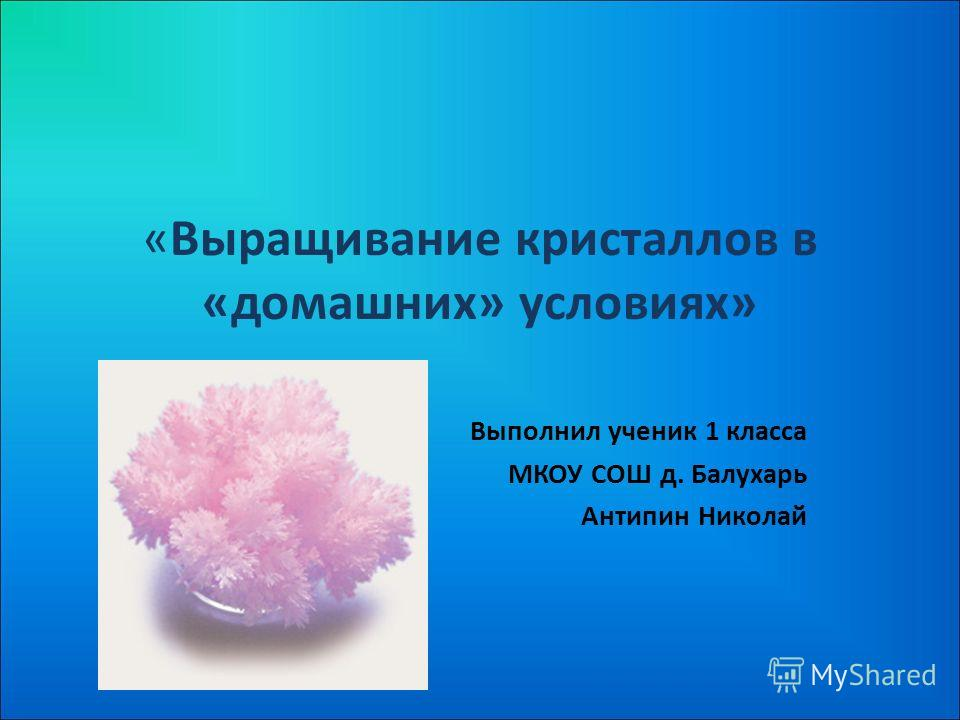 «Выращивание кристаллов в «домашних» условиях» Выполнил ученик 1 класса МКОУ СОШ д. Балухарь Антипин Николай
