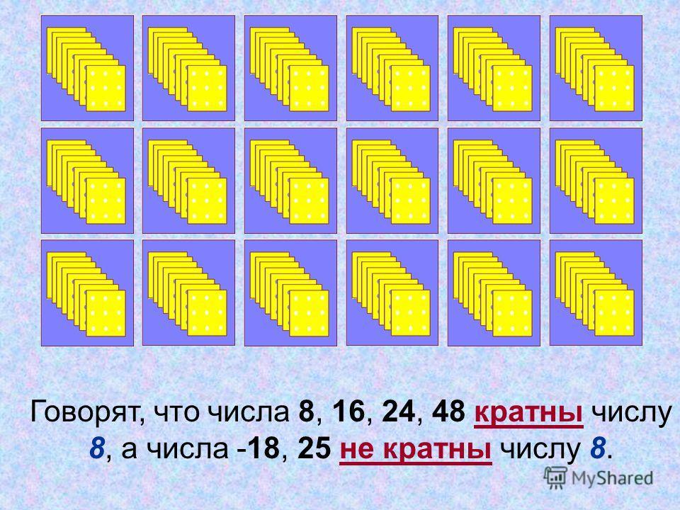 Говорят, что числа 8, 16, 24, 48 кратны числу 8, а числа -18, 25 не кратны числу 8.