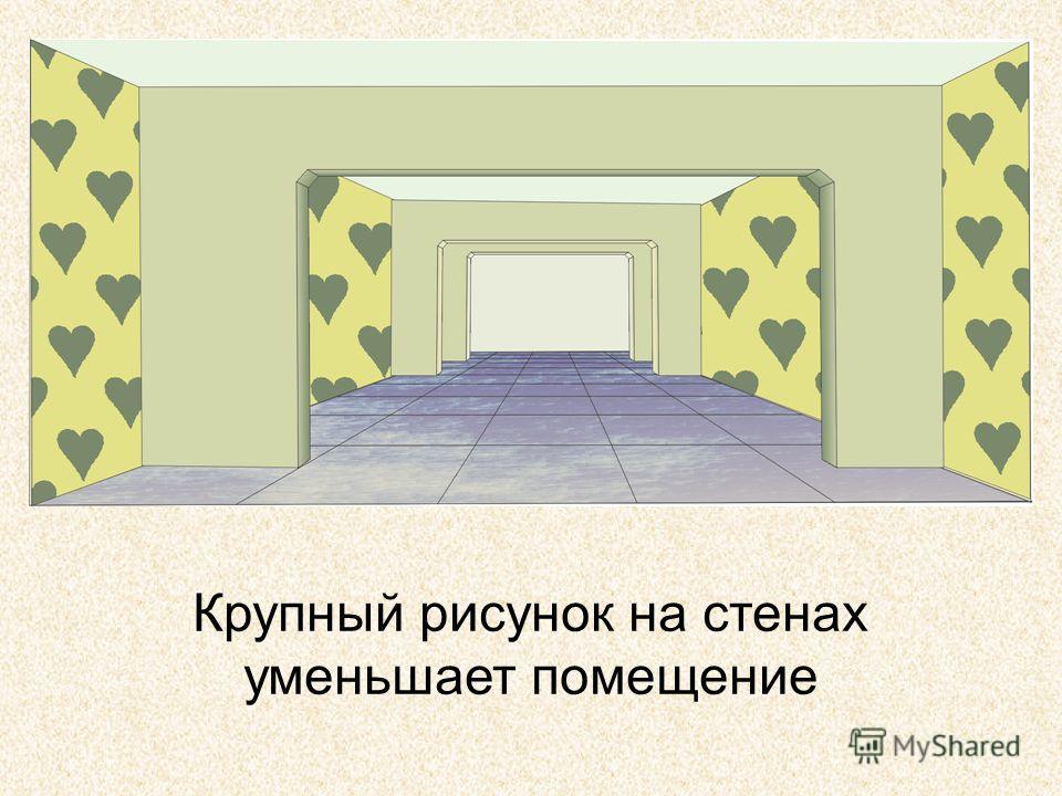 Крупный рисунок на стенах уменьшает помещение
