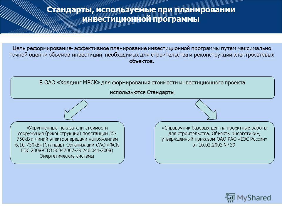 Стандарты, используемые при планировании инвестиционной программы Цель реформирования- эффективное планирование инвестиционной программы путем максимально точной оценки объемов инвестиций, необходимых для строительства и реконструкции электросетевых