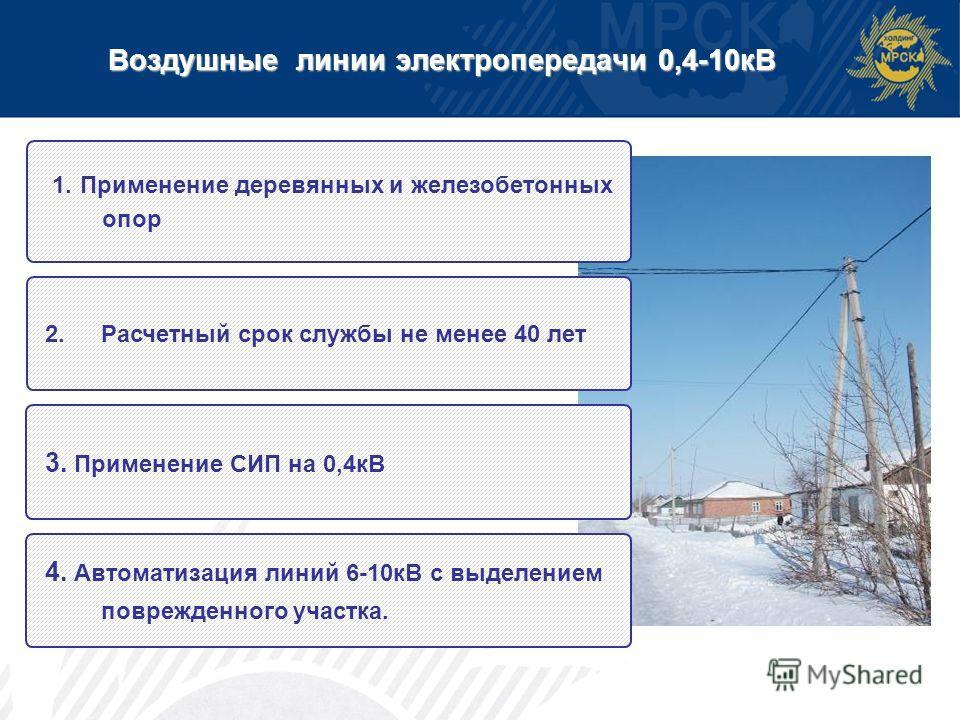Воздушные линии электропередачи 0,4-10кВ 1. Применение деревянных и железобетонных опор 2.Расчетный срок службы не менее 40 лет 3. Применение СИП на 0,4кВ 4. Автоматизация линий 6-10кВ с выделением поврежденного участка.