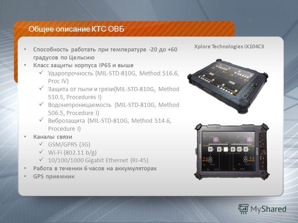 Общее описание КТС ОВБ Способность работать при температуре -20 до +60 градусов по Цельсию Класс защиты корпуса IP65 и выше Ударопрочность (MIL-STD-810G, Method 516.6, Proc IV) Защита от пыли и грязи(MIL-STD-810G, Method 510.5, Procedures I) Водонепр