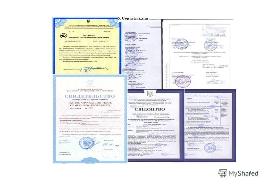 4 5. Сертификаты