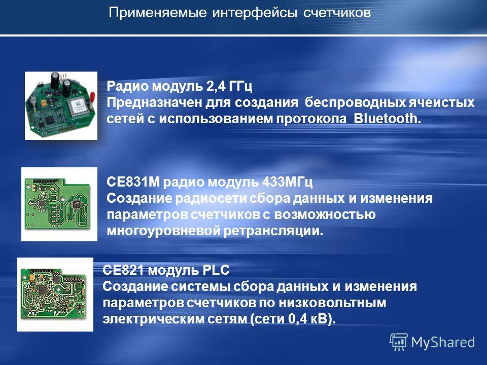 Применяемые интерфейсы счетчиков СЕ831М радио модуль 433МГц Создание радиосети сбора данных и изменения параметров счетчиков с возможностью многоуровневой ретрансляции. СЕ821 модуль PLC Создание системы сбора данных и изменения параметров счетчиков п