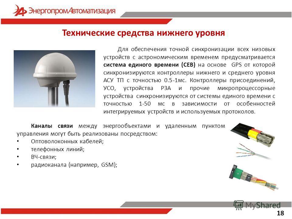 Технические средства нижнего уровня Для обеспечения точной синхронизации всех низовых устройств с астрономическим временем предусматривается система единого времени (СЕВ) на основе GPS от которой синхронизируются контроллеры нижнего и среднего уровня