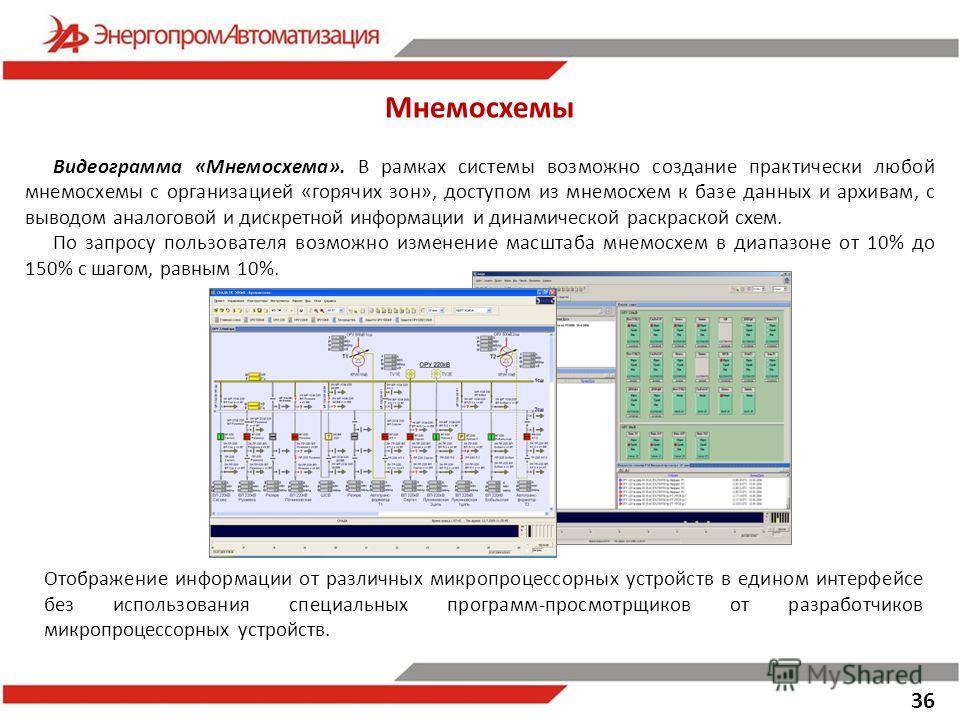 36 Мнемосхемы Видеограмма «Мнемосхема». В рамках системы возможно создание практически любой мнемосхемы с организацией «горячих зон», доступом из мнемосхем к базе данных и архивам, с выводом аналоговой и дискретной информации и динамической раскраско
