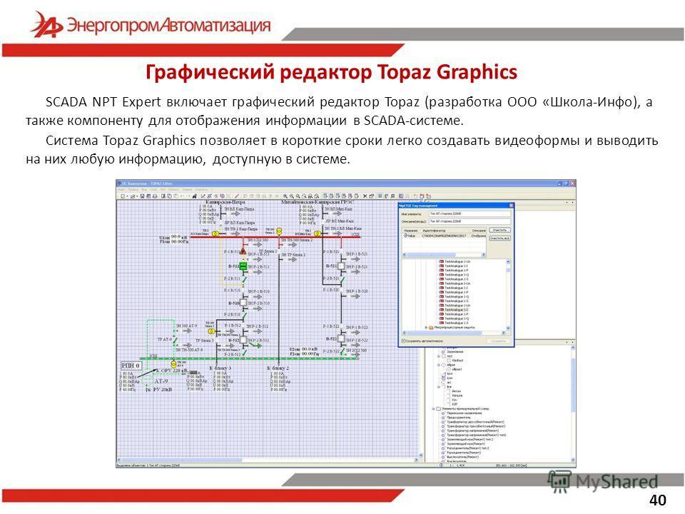 40 SCADA NPT Expert включает графический редактор Topaz (разработка ООО «Школа-Инфо), а также компоненту для отображения информации в SCADA-системе. Графический редактор Topaz Graphics Система Topaz Graphics позволяет в короткие сроки легко создавать