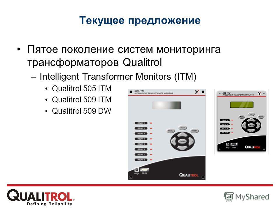 Текущее предложение Пятое поколение систем мониторинга трансформаторов Qualitrol –Intelligent Transformer Monitors (ITM) Qualitrol 505 ITM Qualitrol 509 ITM Qualitrol 509 DW