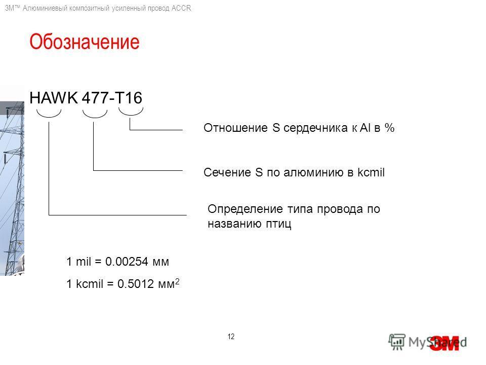 3M Алюминиевый композитный усиленный провод ACCR 12 HAWK 477-Т16 Отношение S сердечника к Al в % Сечение S по алюминию в kcmil Определение типа провода по названию птиц 1 mil = 0.00254 мм 1 kcmil = 0.5012 мм 2 Обозначение